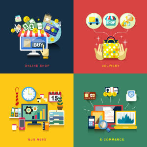 flat design concept of e-commerce, delivery, online shopping, business
