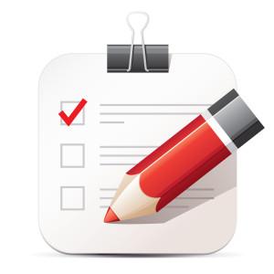 Checklist and pencil icon